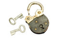 Old padlock and key on white background Royalty Free Stock Photo