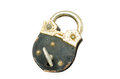 Old padlock and key on white background Royalty Free Stock Photography