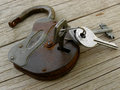 Old padlock with keys on wooden background Royalty Free Stock Image