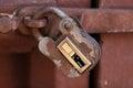 Old padlock locked door inside the ancient santa catalina convent in arequipa peru Royalty Free Stock Image