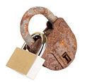 Old padlock and new padlock linked isolated on white background Stock Photography