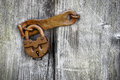 Old padlock on a wooden door Royalty Free Stock Photography