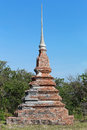 Old Pagoda of Buddhism on big hill in Ko Si Chang Island Chonburi province. Royalty Free Stock Photo