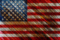 Old painted american flag on dark wooden fence Royalty Free Stock Photos