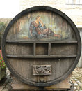 An old painted wine barrel in chateau de pommard in france burgundy october on october is a century castle famous Royalty Free Stock Image
