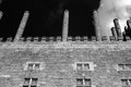 Old palace chimneys and windows from a side facade of a fifteenth century north of portugal black and white used infrared filter Stock Photography