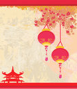Old paper with Asian Landscape and Chinese Lantern Royalty Free Stock Image