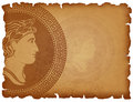 Old paper background with Ancient Roman medallion Royalty Free Stock Photo