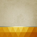 Old paper background with bright orange and gold low poly footer and gold ribbon abstract layout triangles thin silver white Stock Photo