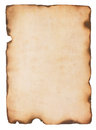 Old paper with burned edges aged and stained fire damaged and isolated on white Stock Photos