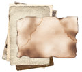 Old paper with burned edges on bunch of vintage photos damaged and isolated Stock Images
