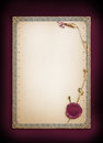 Old paper certificate and dry wild flower. Ornamental border and wafer Royalty Free Stock Photo