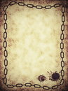Old paper with chain frame background Royalty Free Stock Photo