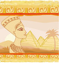 Old paper with egyptian queen illustration Stock Photo