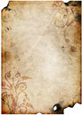 Old paper with floral design Stock Photos