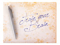 Old paper grunge background - Train your brain Royalty Free Stock Photo