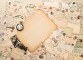 Old paper piece antique accessories and postcards sentimental vintage background Stock Photos