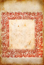 Old paper with red frame the image depicts an decorated a Royalty Free Stock Photos