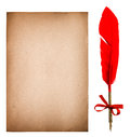 Old paper sheet with feather ink pen. Grungy texture Royalty Free Stock Photo