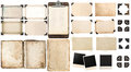 Old paper sheets, vintage photo frames and corners, open book Royalty Free Stock Photo