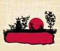 Old paper with silhouette Samurai