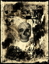Old paper with skull Stock Photography