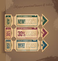 Old paper vintage banner design with tickets Royalty Free Stock Photos
