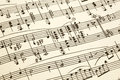 Old paper with vintage sheet music Royalty Free Stock Photo