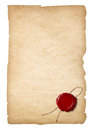Old paper with wax seal isolated Royalty Free Stock Photo