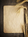 Old paper on wood background with wheat and rye ears Royalty Free Stock Photo