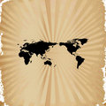 Old paper on world map Stock Photography
