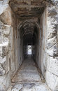 Old passage narrow corridor in an ancient greek building Royalty Free Stock Photos