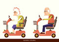 Old people drive by mobility scooter pensioners man and woman scooters vector illustration isolated Royalty Free Stock Images