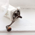 Old pepper mill porcelain white Royalty Free Stock Photo