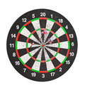 Old perforation dartboard with flags on darts isolated white Royalty Free Stock Images