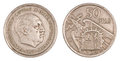 Old Peseta, Coin of Spain Stock Image