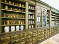 Old pharmacy beautiful antique cupboard Royalty Free Stock Photo