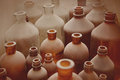 Old pharmacy bottles covered with dust Royalty Free Stock Photo