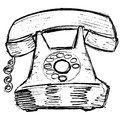 Old phone hand drawn sketch illustration of Royalty Free Stock Photography