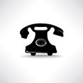 Old phone icon retro phone symbol call center vintage label telephone isolated Stock Image