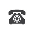 Old phone icon vector, filled flat sign, solid pictogram isolated on white. Royalty Free Stock Photo