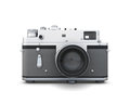 Old photo camera front view isolated on white background d illustration vintage Stock Photography