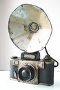 Old photocamera in front of white background illustration Stock Image