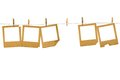 Old photoframes are hanging in the row Royalty Free Stock Photo