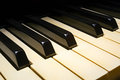 Old piano keyboard perspective Royalty Free Stock Photo