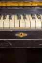 Old piano keyboard of vintage black Royalty Free Stock Image