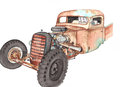 Old pickup truck watercolor rat rod rusty with rear cargo area bed often called a Stock Photo