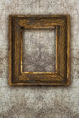 Old picture frame handmade wood on wall ruined background Royalty Free Stock Photo