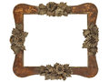 Old picture frame with wood cut grey flowers isolated on white Royalty Free Stock Image
