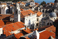 Old picturesque historic port town of dubrovnik in croatia viewed from above with a view on a church and red tiled roofs Royalty Free Stock Images